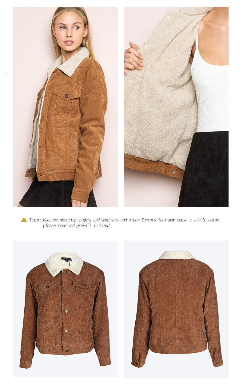 He60fcdf1eb2a4d12879e7a899fb268e65 HDY Haoduoyi Winter Casual Brown Corduroy Long Sleeve Turn-down Collar Denim Jacket Single Breasted Basic Women Warm Cotton Coat