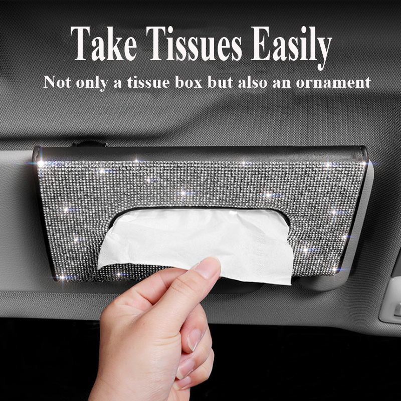 Diamond Car Tissue Box Car Sun Visor Tissue Box Holder Bling Car Accessories Leather Tissue Boxes Car Decoration Dropshipping
