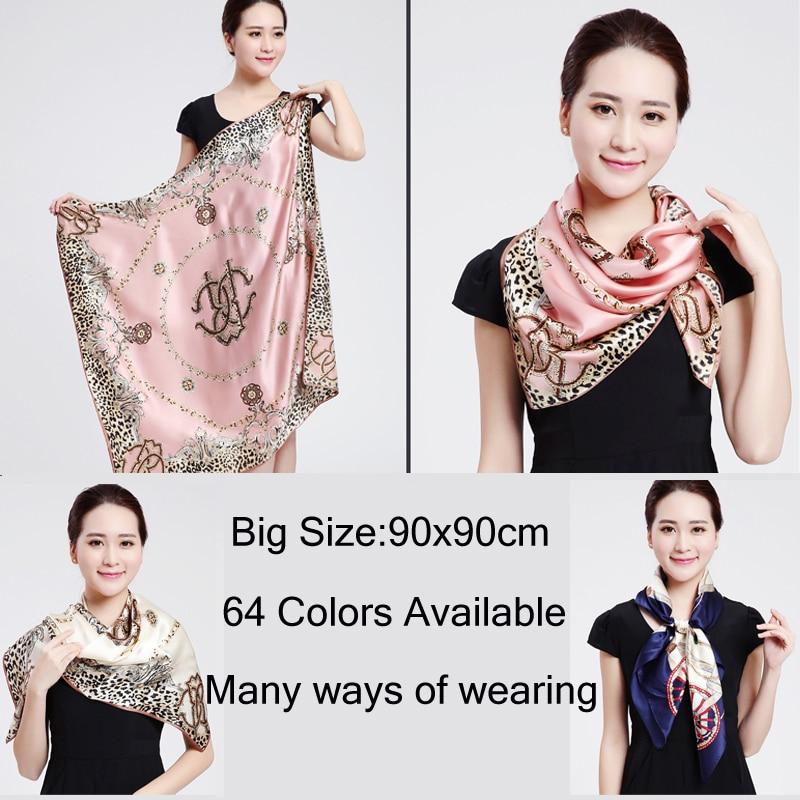 √Hot DealsScarf Foulard Satin Shawl Bandana Square Silk Hair/Head Big-Size Fashion Women 90--90cm