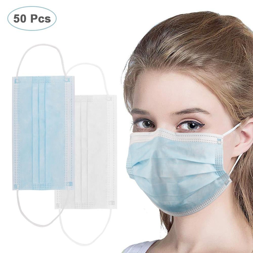 50Pcs Disposable Face Mouth Masks PM2.5 Anti Influenza Dust Breathing Safety Masks Anti-Dust Face Mask Dustproof Respirator