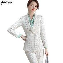 משובץ מכנסיים חליפת נשים 2019 חדש חורף אופנה רשמי ארוך שרוול בלייזר ומכנסיים משרד גבירותיי עסקי עבודה ללבוש