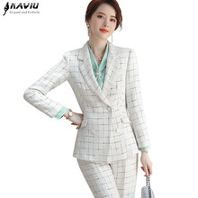 Plaid Pants Suit Women 2019 New Winter Fashion Formal Long Sleeve Blazer and Trousers Office Ladies Business Work Wear