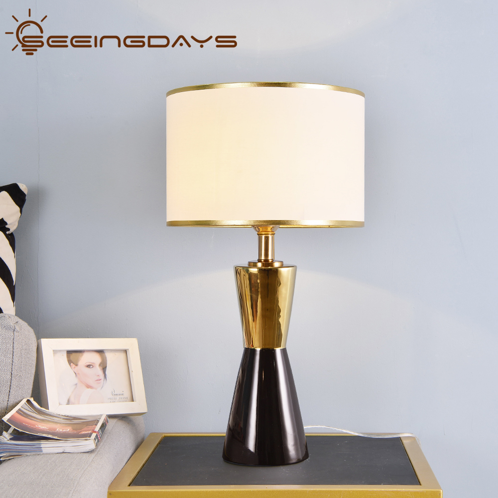 2020 Gold And Black Luxurious Ceramic Table Lamps For Bedroom Living Room Home Decor Bedside Lamp