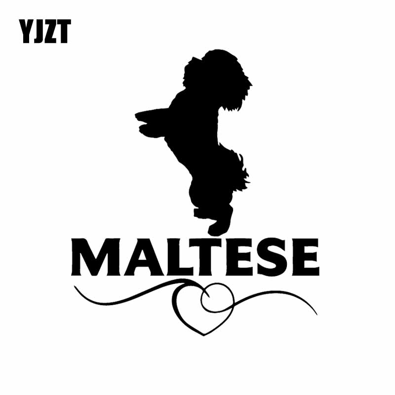 YJZT 12X13.9CM Maltese Love Vinyl Decal Car Sticker Dog Breed Pet Animal Black/Silver C24-1539