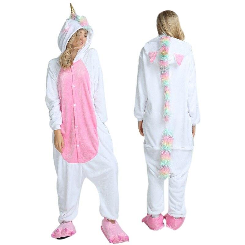 Kigurumi Unicorn Long Sleeve Hood Onsie Pijama De Unicornio Flannel Combinaison Licorne Whole One Piece Unicorn Animal Pajamas