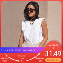 Cotton Shoulder Padded Korean Women T-Shirt O-Neck Sleeveless Solid Female T Shirt 2020 New Summer C