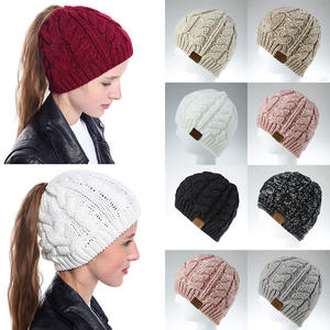MLTBB Autumn Winter Beanie Hat For Woman Fashion Elasticity Knit Ponytail Warm Hat Winter Skullies Beanies Female Bonnet