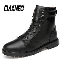 Buy CLAXNEO Man Boots High Top Autumn Male Winter Footwear Plush Fur Snow Shoes Warm Mens Motorcycle Boot Genuine Leather directly from merchant!