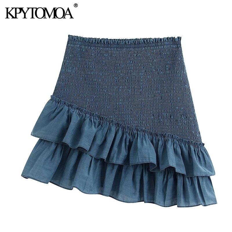 KPYTOMOA Women 2020 Sweet Fashion Shirred Detail Mini Skirt Vintage Elastic Waist Ruffled Female Skirts Casual Faldas Mujer