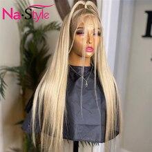 NAstyle пепельного цвета блонд Синтетические волосы на кружеве парик человеческих волос парик шнурка прозрачные кружевные парики 613 Синтетиче...