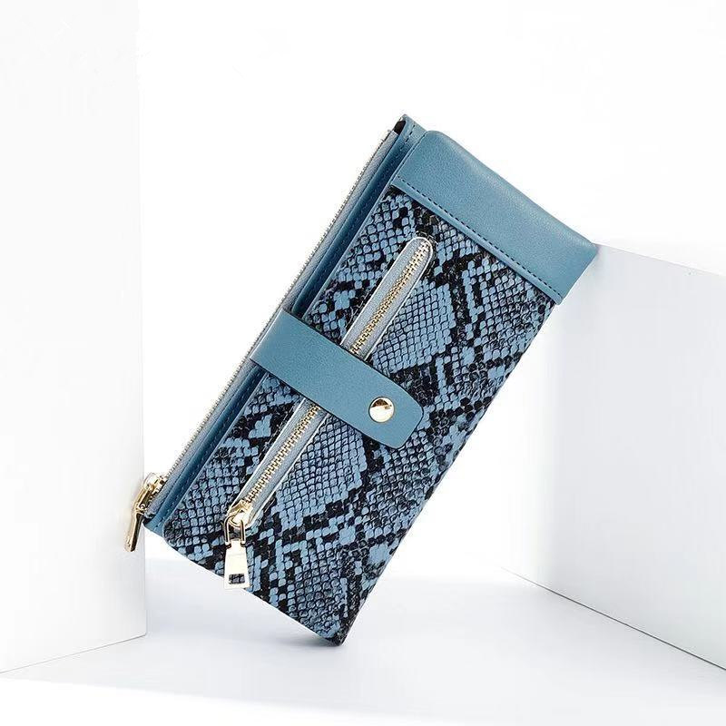 New Fashion Ladies Wallet Buckle Coin Wallet Holder Brand PU Leather Ladies Snake Pattern Long Clutch Bag 2019