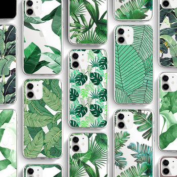 ciciber Green Leaf  Phone Case For Iphone 11 Case For iPhone 11 Pro XR 7 X XS MAX 8 6 6S Plus 5S SE Silicone Funda Coque Cover leaf print iphone case