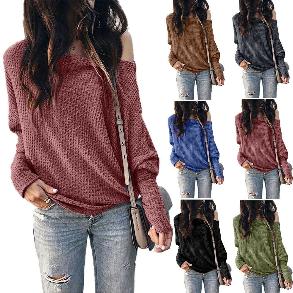 Women Solid Loose Batwing Long Sleeve Casual Pullover Shirt Plus Size Solid Tops Off Shoulder T-Shirts New