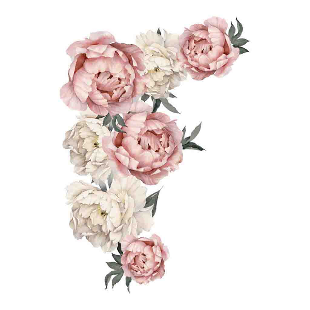 Peony Rose Flowers Wall Sticker Art Nursery Decals Kids Room Home Decor Gift Comfortable Warmth Quality Dressing Fashion