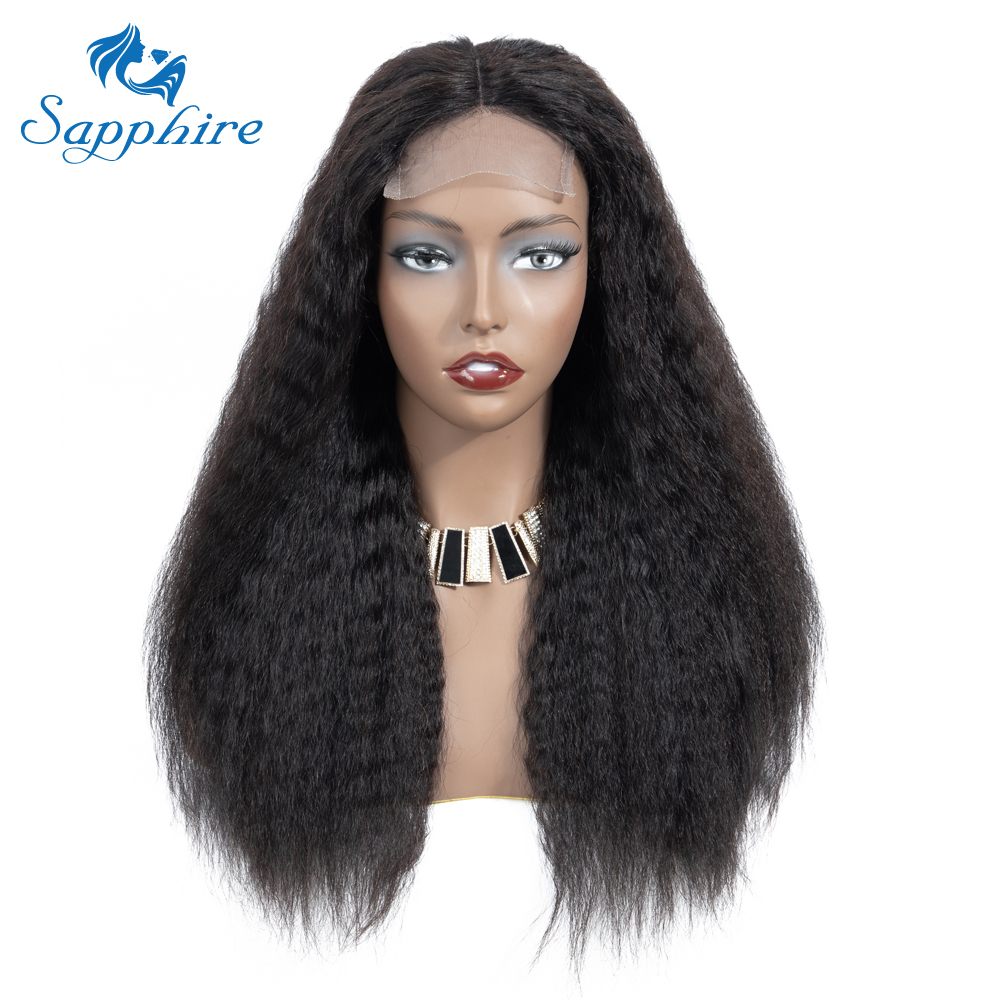 Image 3 - Sapphire 4*4 Deep Part Lace Wigs Brazilian Human Hair Wigs Pre Plucked Yaki Straight Kinky Straight Lace Closure Wigs For Women-in Lace Front Wigs from Hair Extensions & Wigs