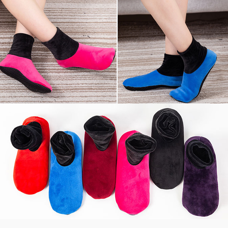 Women Men Winter Warm Thicken Home Bed Socks Fashion Pure Color Non Slip Short Socks Elastic Floor Slipper Polyester Socks