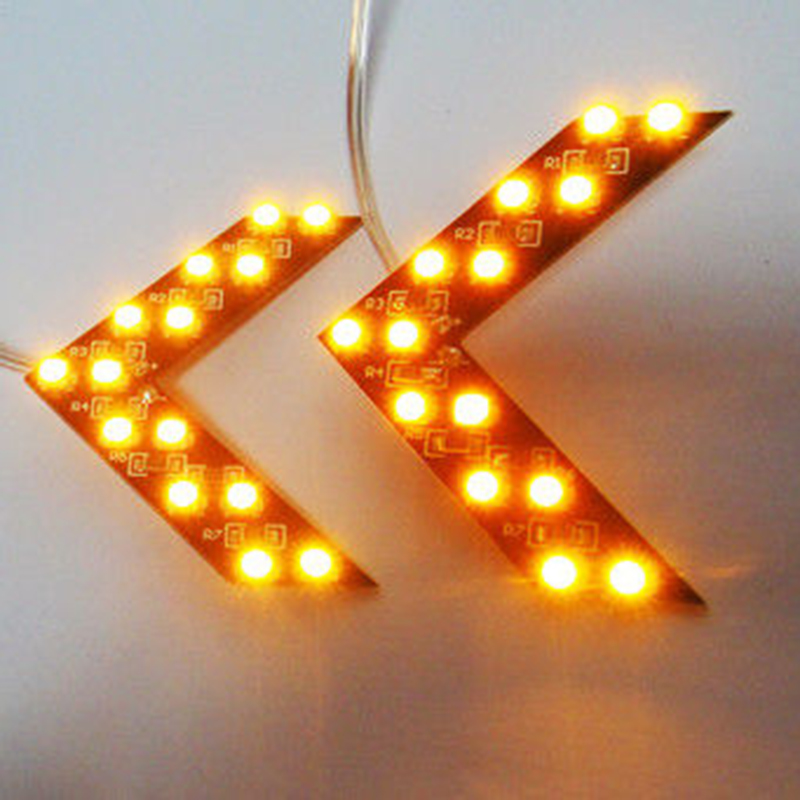 14 SMD Car Arrow Light Windshield LED Lamp Panel Rear View Mirror Warning Indicator Truck