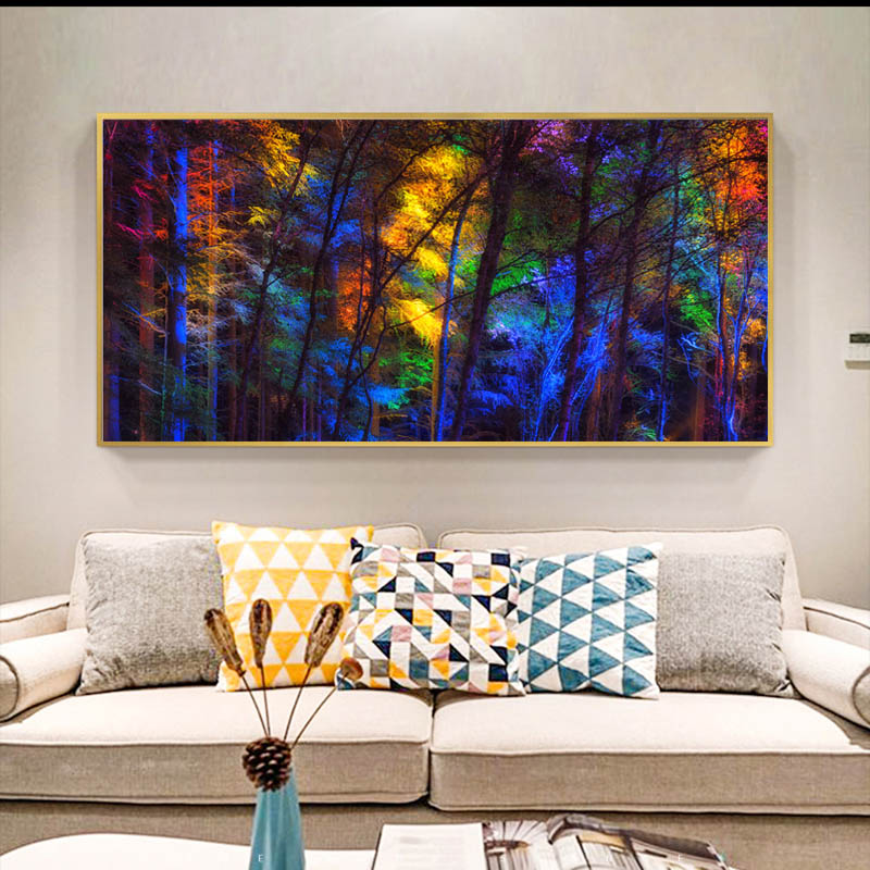 Colorful Tree Forest Landscape Painting Wall Art Canvas Modular Prints