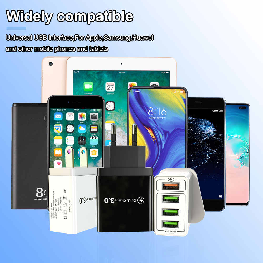 30W Quick Charge 3.0 USB Charger untuk iPhone Samsung A50 Xiaomi One Plus Cepat Charger Dinding US Uni Eropa UK Tablet Ponsel Charger