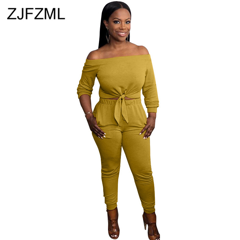 Solid Sexy Two Piece Set Women Clothes Slash Neck Full Sleeve Crop Top And High Waist Pencil Pants Plus Size 2 Pcs Sweat Suits