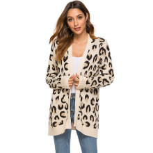 Leopard cardigan long sweater womens split knit coat 2019 autumn and winter European  sweaters