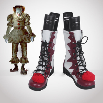 Stephen King It S Pennywise Clown Shoes and Mask Cosplay Costume Adult Men and Women Boots Helmet Halloween Party Customization дутики king boots king boots mp002xw0zwfn