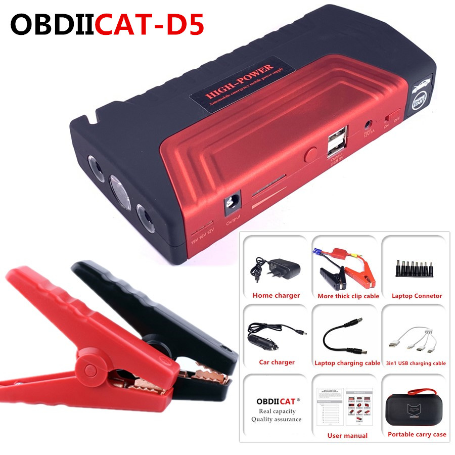 OBDIICAT-D5 Car Jump Starter 12V 600A Portable Starter Power Bank Petrol Starting Device Car Charger For Car Battery Booster