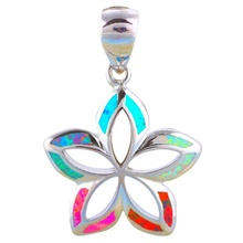 Exquisite Fashion Multicolor Opal Starfish Marine Theme Pendant Necklace Silver Wedding Jewelry Gift