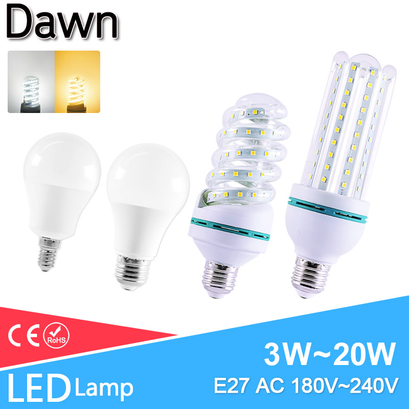 LED Lamp E27 E14 Led Bulb 20W 18W 15W 12W 9W 6W 3W AC 220V 2835 SMD Smart IC Real Power Lampada LED Bombilla Ampoule For Home
