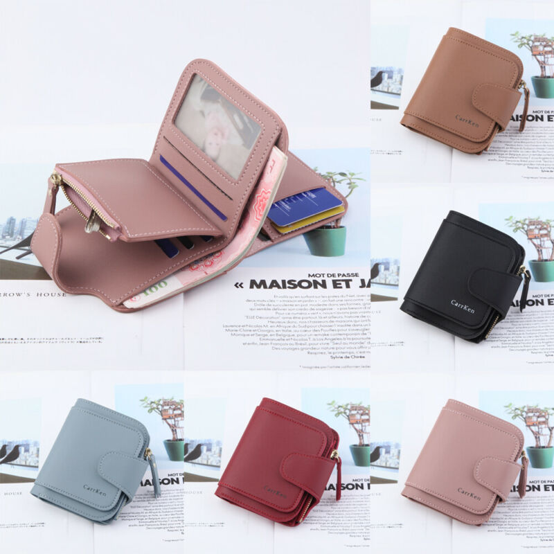 Women Ladies Solid Leather Wallet Coin Purse Short Small Money Purse Wallet Folding Coin Card Holder