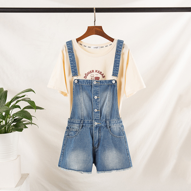 2019 Summer Large Size Dress Fat Mm Slimming Printed Lettered T-shirt Plus Wool Shall Cowboy Suspender Pants Shorts Set
