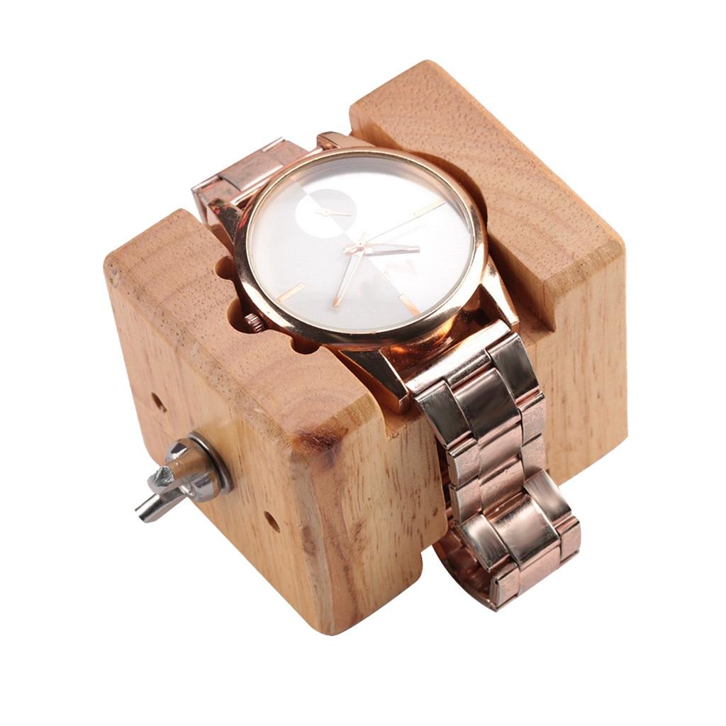 Wooden Watch Case Block Movement Wood + Stainless Steel Watch Holder Fix Base Watchmaker Repair Tool Accessories
