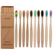 Brosses à dents en fibre de bambou multicolores avec manche en bambou, accessoire de brosse à dents, lot de 50