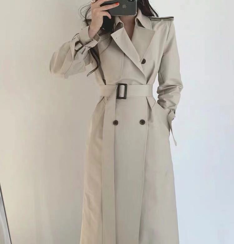 2019 new spring autumn fashion Casual women's   Trench   Coat long Outerwear loose clothes for lady with belt