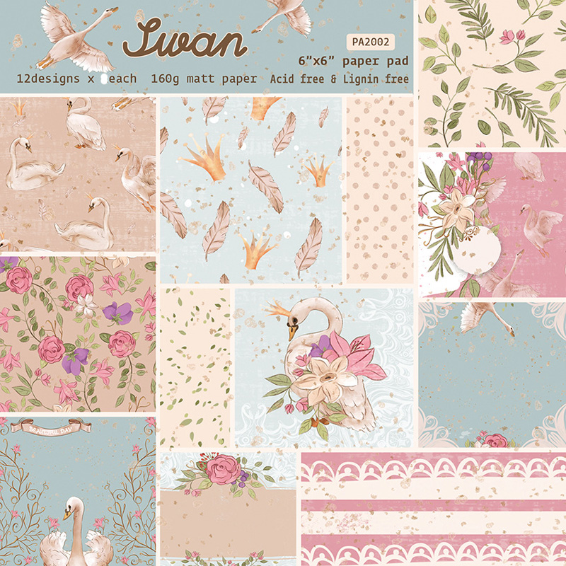 KLJUYP 12 Sheets Swan Scrapbooking Pads Paper Origami Art Background Paper Card Making DIY Scrapbook Paper Craft