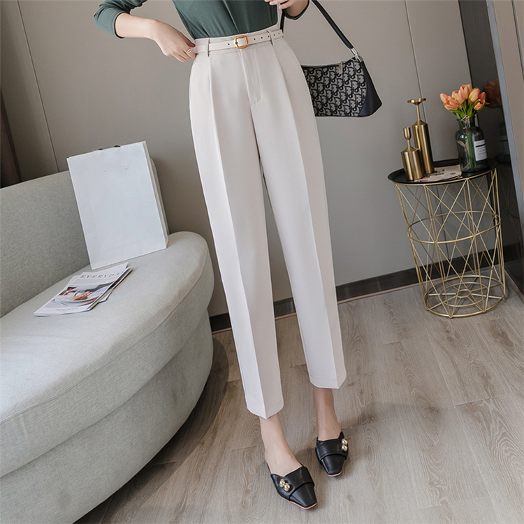 He611d56b3a914cc89ad0a5065c974c07l - Colorfaith New Spring Winter Women Pants High Waist Loose Formal Elegant Office Lady Ankle-Length With Belt Pants P7223