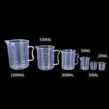 Copo de medição graduado plástico claro 20-1000ml para o recipiente líquido do copo do jarro da medida do copo do cozimento