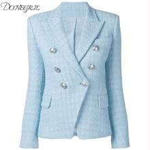 High Quality 2020 Newest Baroque Designer Blazer Women's Lion Metal Buttons Wool Tweed