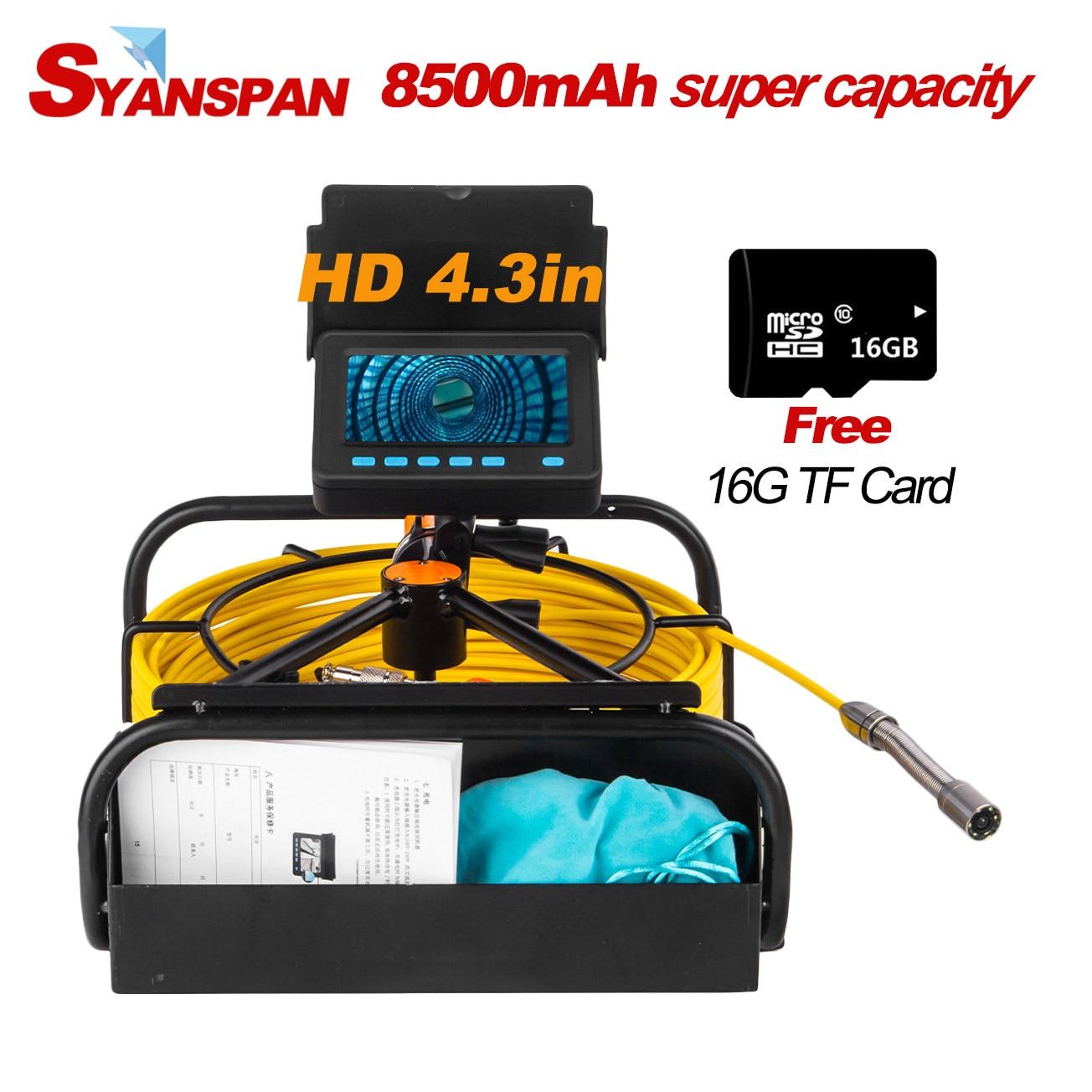 Portátil capacidade 8500mah standable 16gb tf cartão dvr ip68 syanspan industrial drenagem tubulação de esgoto inspeção câmera vídeo endoscópio