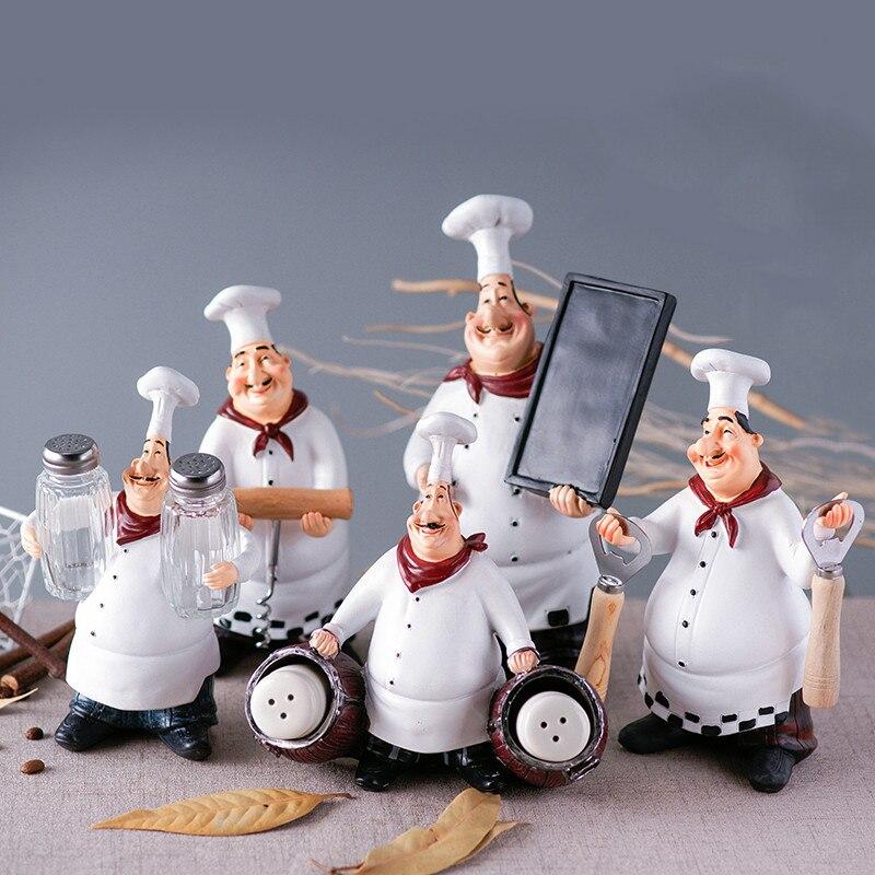 Chef Figure Statue Decoration Decor Kitchen Bar Showcase Restaurant Cafe Home Garden