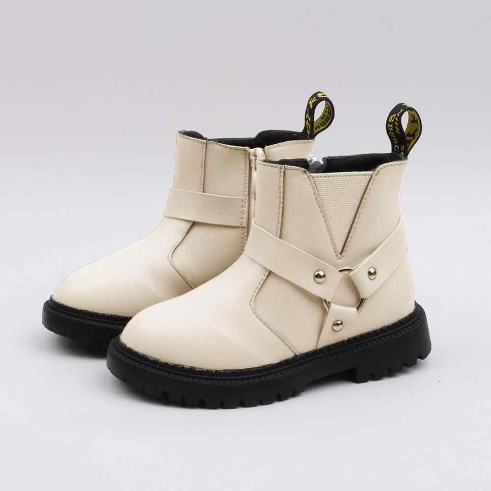 Botas para niños bebés niñas niños zapatos cortos con cremallera suela suave botines zapatos casuales encantadores botines de bebé de goma sólida