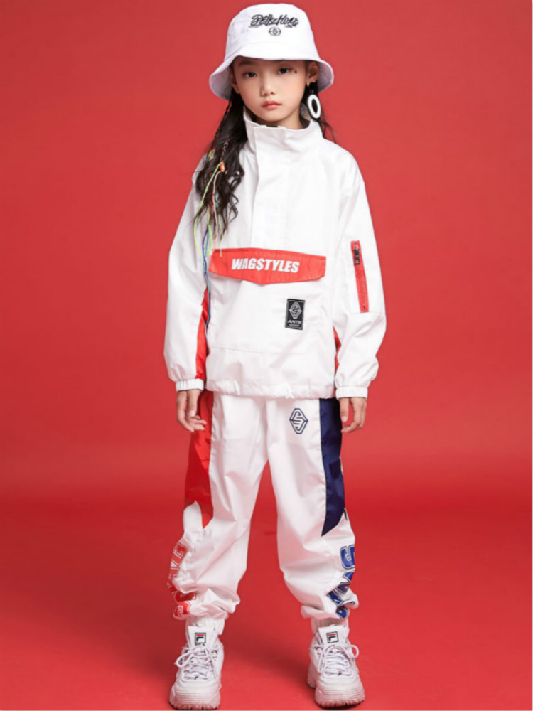 Children's Hip-hop Suit Girls Summer Hip-hop Korean Long-sleeved Trousers Children's Hip-hop Girlship-hop Trend Two-piece Set