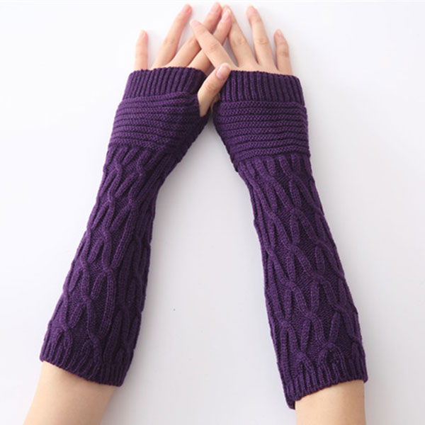 Women Arm Warmer Winter Long Gloves Fashion Fingerless Gloves Solid Color Knitted Mittens -MX8