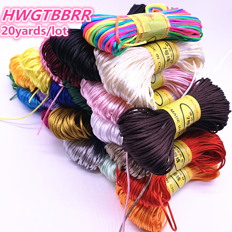20yards 1.5mm  Chinese Knot Line Cord Silk Satin Cord Nylon Cord DIY String Necklace Bracelets Cord
