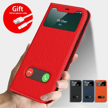 For iPhone 11 Pro Max Case Cover for iPhone SE 2020 Luxury Flip Genuine Leather Window View 5S 6s 7 8 Plus X XS XR Phone Cases