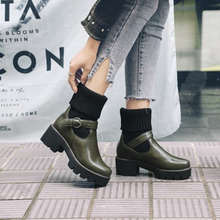 Platform-Short-Shoes Buckle Ankle-Boots Chunky-Heel Winter Women Thick-Bottom Female