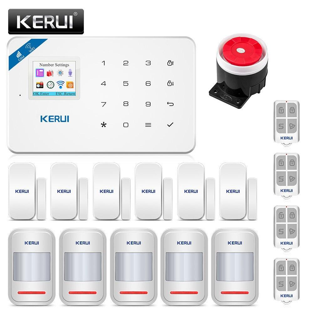 Kerui w18 wi fi sem fio gsm sistema de alarme segurança em casa assaltante kit android ios app controle com controle remoto
