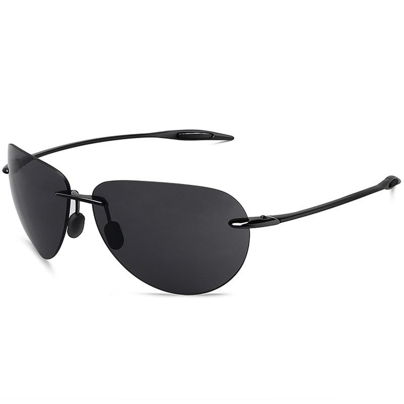 MAXJULI Sunglasses Men Classic UV400 Fashion Driving Sports Unbreakable Rimless Oval Male Women's TR90 Frame Sun Eyewear 8008