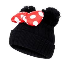 От 1 до 9 лет; Новинка; сезон осень-зима; детская шапка с бантом; милая вязаная шапка с Минни Маус для маленьких девочек; шапки с Микки Маусом; теплая детская шапка