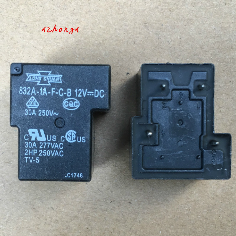 Relay 832A-1A-F-C-B 12VDC Songchuan 12V 4 Pin Set Normally Open